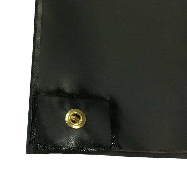 20 oz. New Black Vinyl Tarp: Grommet Close-Up 1