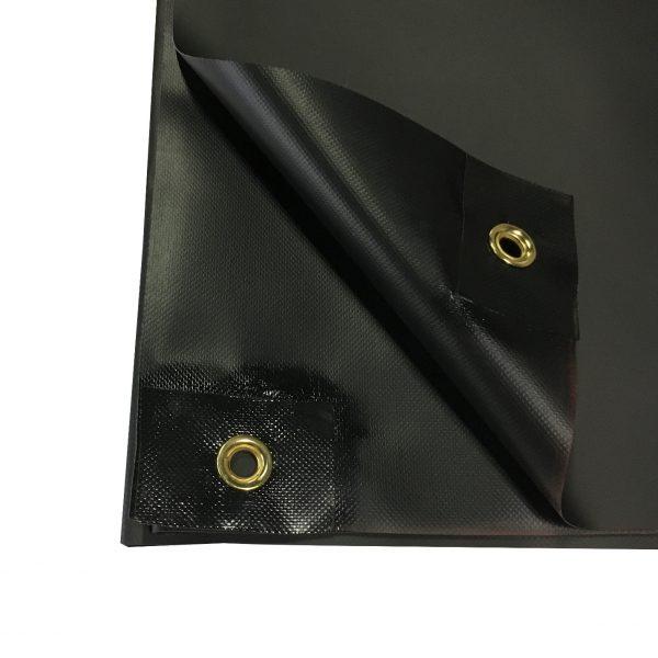 20 oz. New Black Vinyl Tarp: Close-Up 2