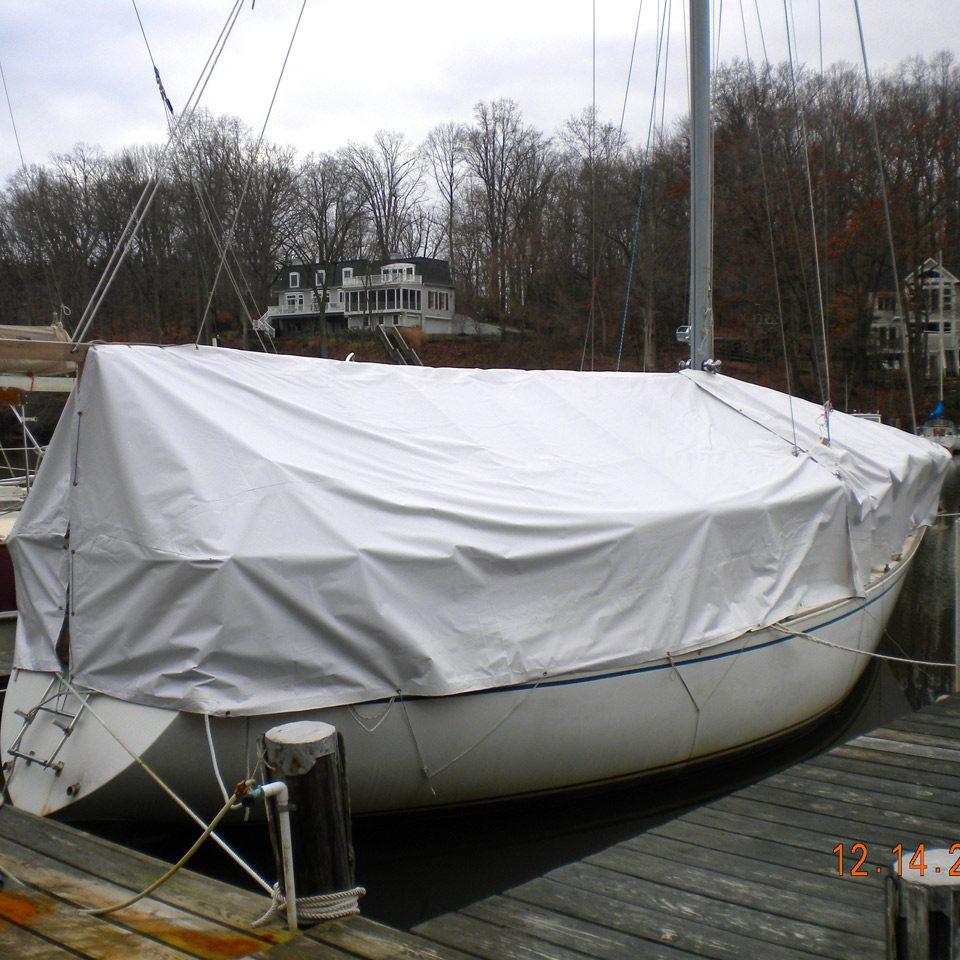 White Vinyl Boat Cover 1