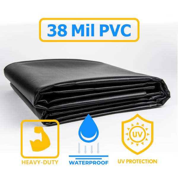 35 oz. 38 Mil Black Vinyl PVC Pond Liner Tarp
